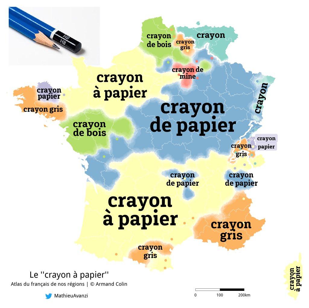 Dénomination des crayons selon les régions